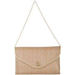 Anne Klein Coral & Gold Tone Woven Handbag