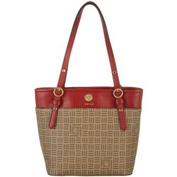 Anne Klein Logo Print Small Pocket Tote Handbag