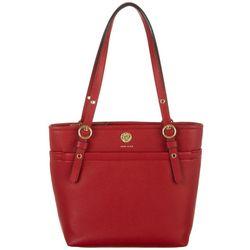 Anne Klein Red Small Pocket Tote Handbag