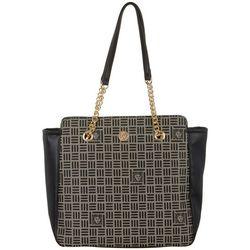 Anne Klein Chain Shoulder Straps Logo Print Tote Handbag