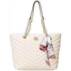 Anne Klein Chevron Quilted Chain Tote Handbag