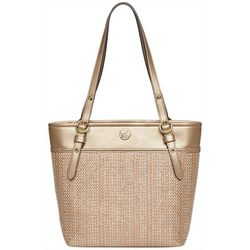 Anne Klein Metallic & Straw Tote Handbag