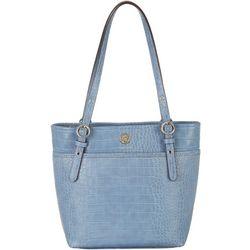 Anne Klein Croco Texture Pocket Tote Handbag