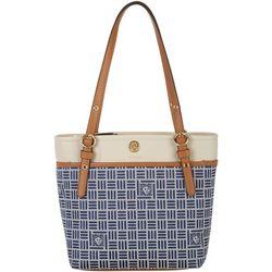 Anne Klein Oyster Logo Print Small Pocket Tote Handbag