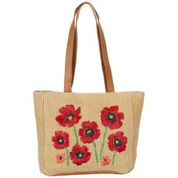 Embroidered Poppy Jute Tote