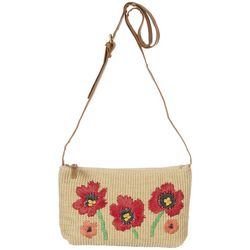 Nanette Lepore Embroidered Poppy Jute Crossbody Bag