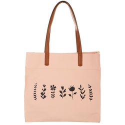 Twig and Arrow Flower Canvas Tote