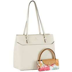 Nanette Lepore Daria Solid Tote With Packable Floral Satchel