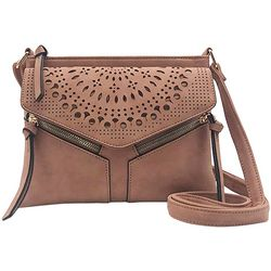 Violet Ray Leanna Perforated Crossbody Handbag