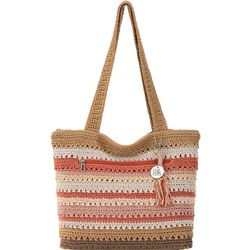 THE SAK Riveria Stripes Crochet Tote Handbag
