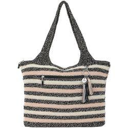 THE SAK Salt & Pepper Striped Classic Tote Handbag