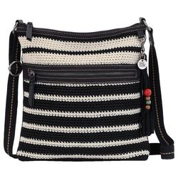 THE SAK Lucia Crochet Black Stripe Crossbody Handbag