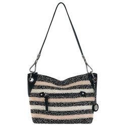 THE SAK Salt & Pepper Stripe Indio Crochet Demi Handbag