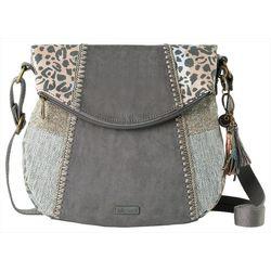Sakroots Slate Spotted Wildlife Foldover Crossbody Handbag