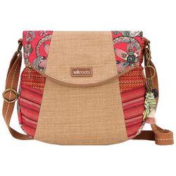 Sakroots Crimson Print Fold Over Crossbody Handbag