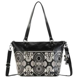 Sakroots Black & White Wanderlust City Tote Handbag
