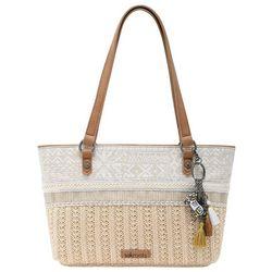 Sakroots Tribal Beauti Ellis Straw Satchel Handbag