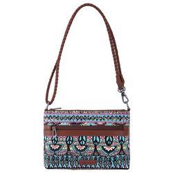 Sakroots Campus Aqua One World Mini Crossbody Handbag