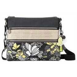 Sakroots Basic Slate Flower Blossoms Crossbody Handbag