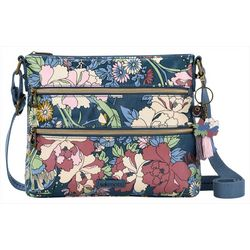 Sakroots Denim Flower Power Crossbody Handbag