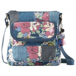 Sakroots Denim Flower Power Flap Crossbody Handbag