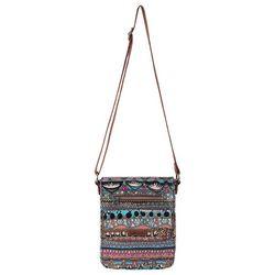 Sakroots Aqua Blue One World Small Flap Messenger Handbag