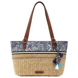 Sakroots Navy Blue Spirit Desert Ellis Straw Satchel Handbag