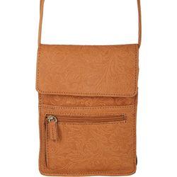 Great American Leather Embossed Crossbody Organizer Handbag
