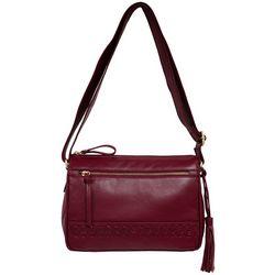 Great American Leather Braid East West Crossbody Handbag