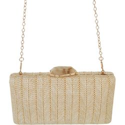 D'Margeaux Stone Closure Straw Clutch