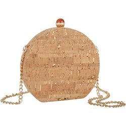 D'Margeaux Gold Tone Foil Cork Round Evening Bag