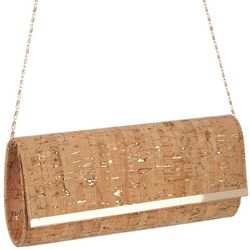 D'Margeaux Gold Tone Foil Cork Clutch