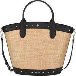 Nine West Norah Woven Straw Tote Handbag