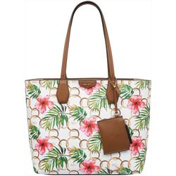 Nine West Caden Ring & Hibiscus Print Tote Handbag