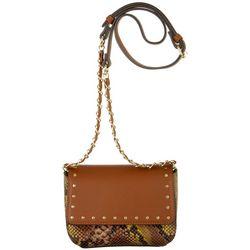 BCBG Robyn Studded Snakeskin Print Crossbody Handbag