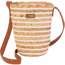 North South Striped Straw Crossbody Handbag