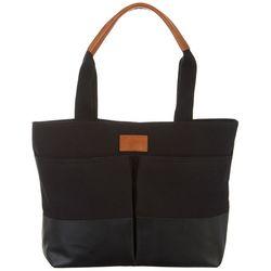 Nautica Solid Black Modern Trail Shopper Tote Handbag