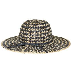 Nine West Womens Two Tone Straw Floppy Hat