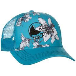 Reel Legends Womens Blue Hibiscus Trucker Hat