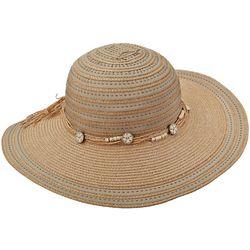 Scala Womens Wood Beads & Cord Wide Brim Hat
