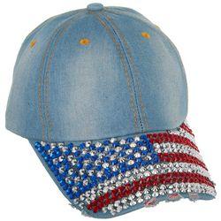 Americana Womens Rhinestone American Flag Baseball Hat