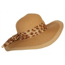 Mad Hatter Womens Animal Print Scarf Floppy Hat