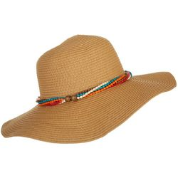 Mad Hatter Womens Beaded Band Floppy Sun Hat