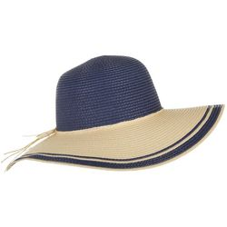 Mad Hatter Womens Natural Beige & Navy Blue Straw Floppy Hat