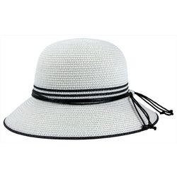 Mad Hatter Womens Striped Tie Bucket Hat