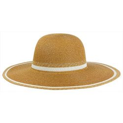 Mad Hatter Womens Striped Trim Floppy Sun Hat