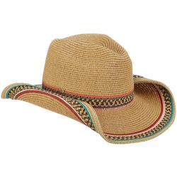 Capelli Womens Crisscross Striped Colorful Trim Cowboy Hat