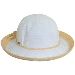 Scala Womens Up Brim Straw Trim Hat