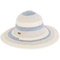 Sun N' Sand Womens Poly Ribbon Floppy Sun Hat