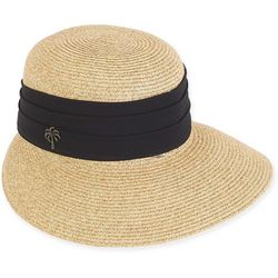 Sun N' Sand Womens Paper Braid Trim Sun Visor